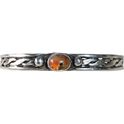 Handcrafted Sterling Cuff Bracelet w Moss Agate