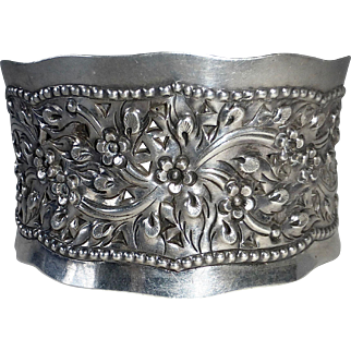 Sterling Silver Wide Cuff Bracelet Pierced & Repousse Floral Design