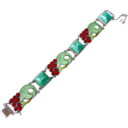 Art Deco Sterling Enamel & Art Glass Bracelet