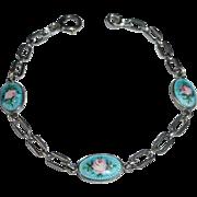 Sterling Chain Bracelet w 3 Enamel Rose Links c1950s