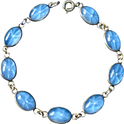 Sterling Link Bracelet of Faux Star Sapphire Cabochons