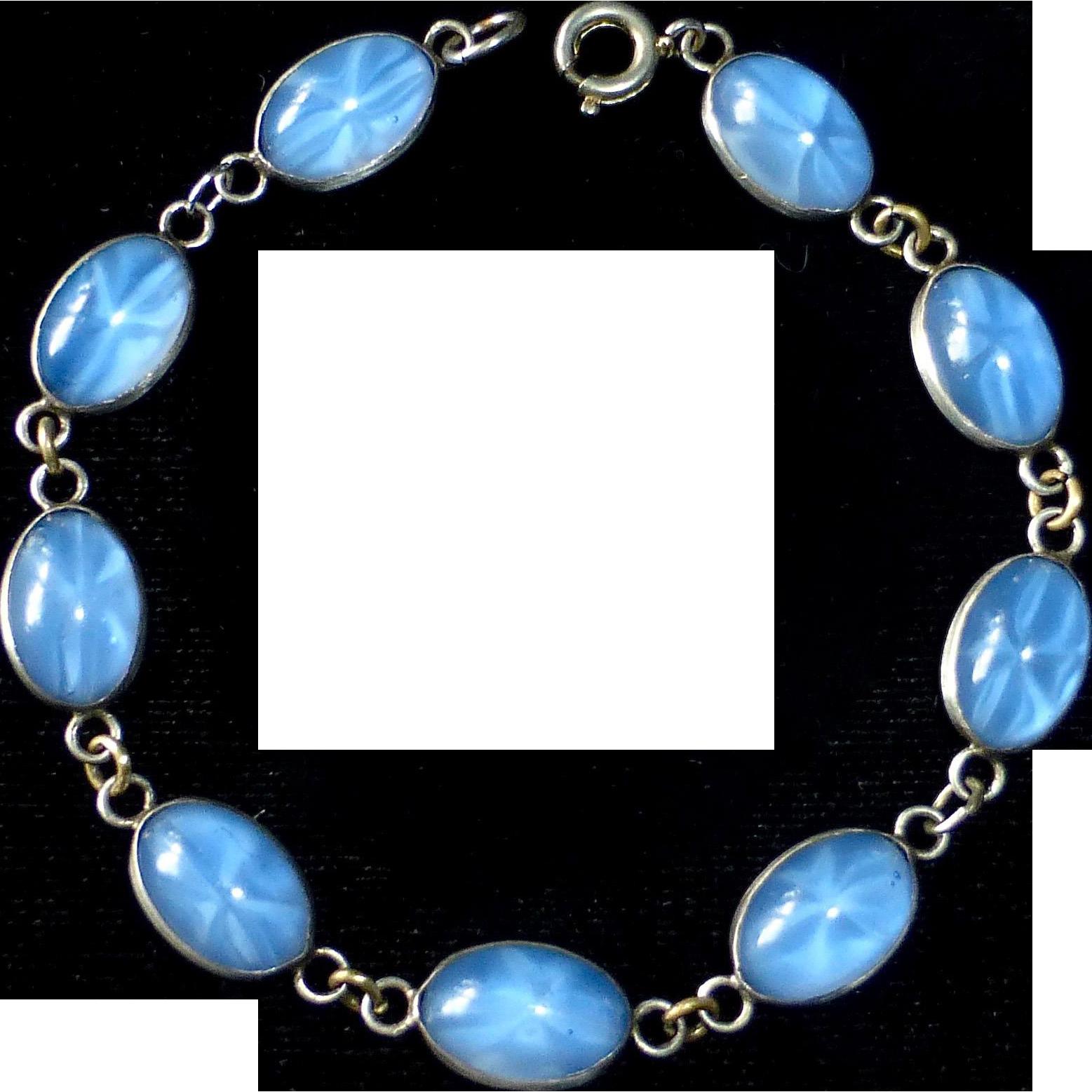 Sterling Link Bracelet of Faux Star Sapphire Cabochons