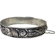 Sterling Repousse Harvest Design Hinged Bangle Bracelet Roses & Wheat