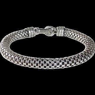 Sterling Round Tube Mesh Chain Bracelet