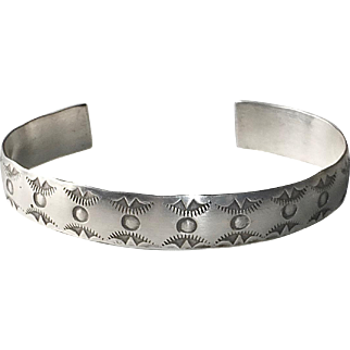 Native American Navajo Stamped Sterling Cuff Bracelet