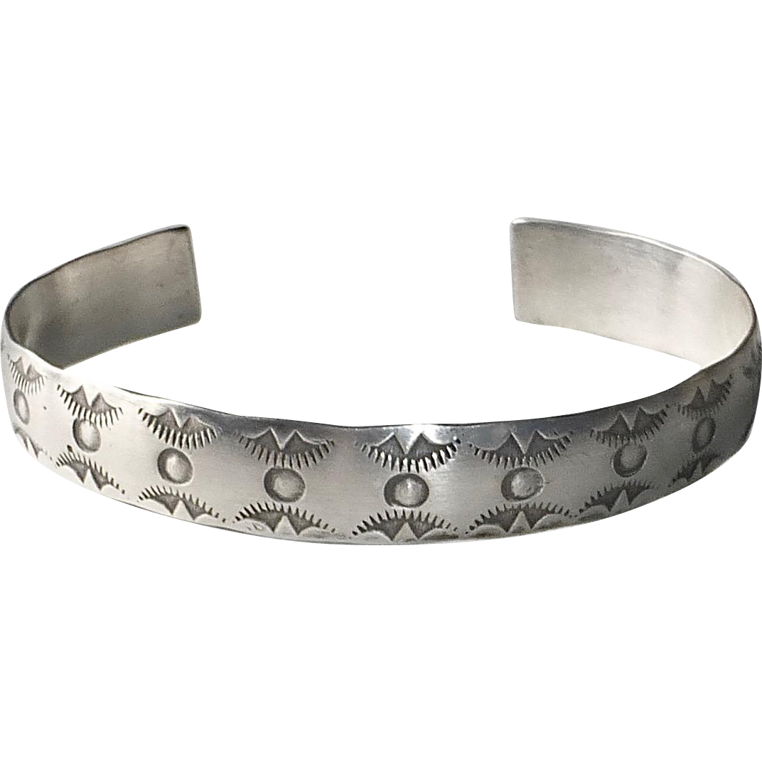 Native American Navajo Stamped Sterling Cuff Bracelet