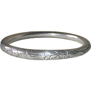 Victorian Sterling Engraved Oval Bangle Bracelet