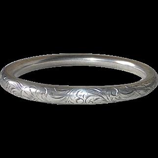 Victorian Sterling Engraved Oval Bangle Bracelet