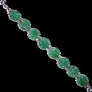 Art Deco Sterling & Peking Glass Bracelet