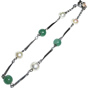 Delicate Sterling Bracelet w Cultured Pearls & Aventurine Beads