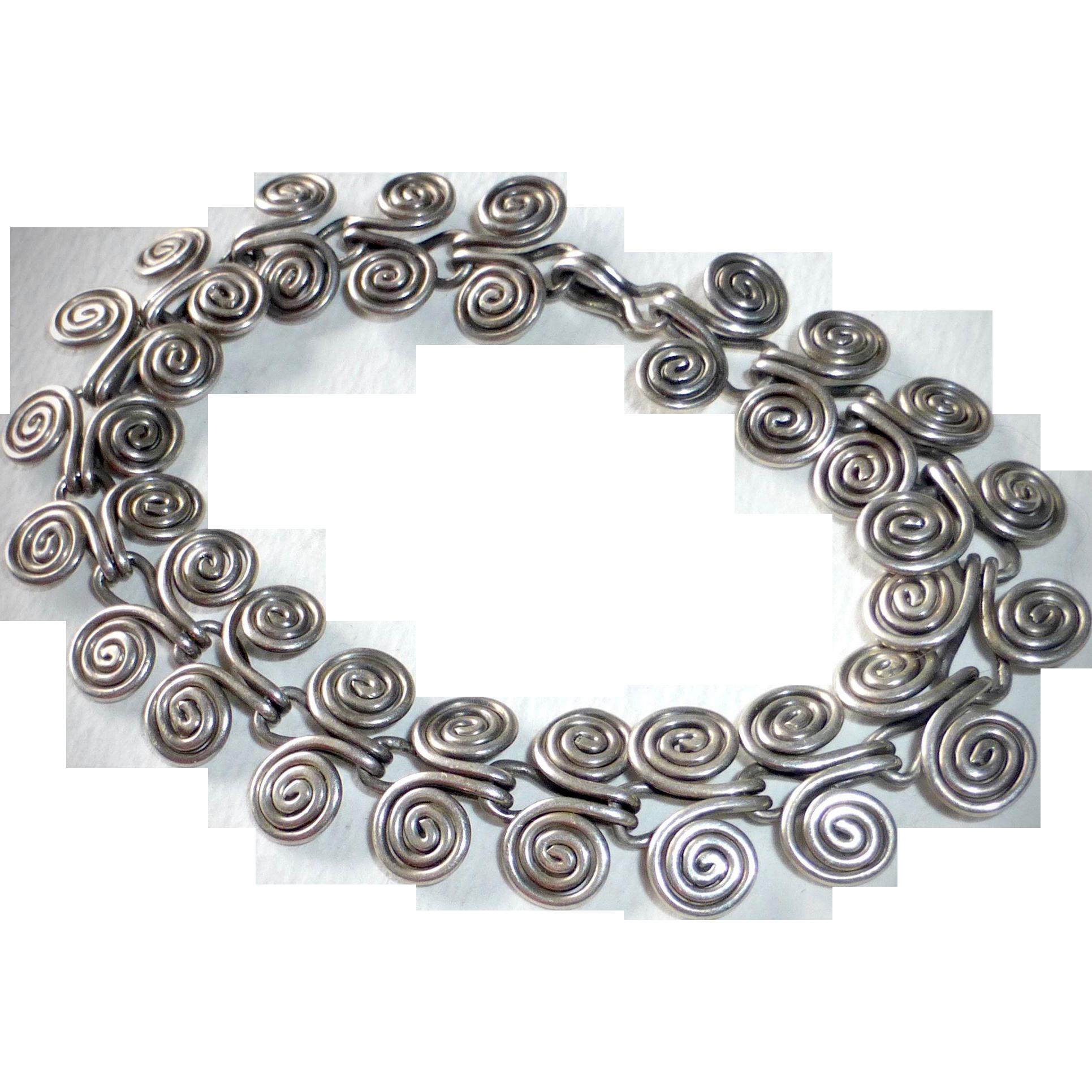 Sterling Silver Handcrafted Double Spiral Slinky Bracelet