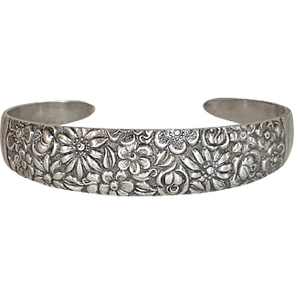 Towle Sterling Silver Contessina Floral Cuff Bracelet c1965