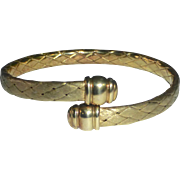 Gold Plated Sterling Bypass Bracelet w Woven Band
