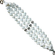 Milk Glass Five Strand Beaded Bracelet Rhinestone Rondels