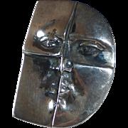 Modernist Sterling Face Belt Buckle
