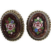 Button Pair Victorian Pietra Dura Style Mosaic in Goldstone