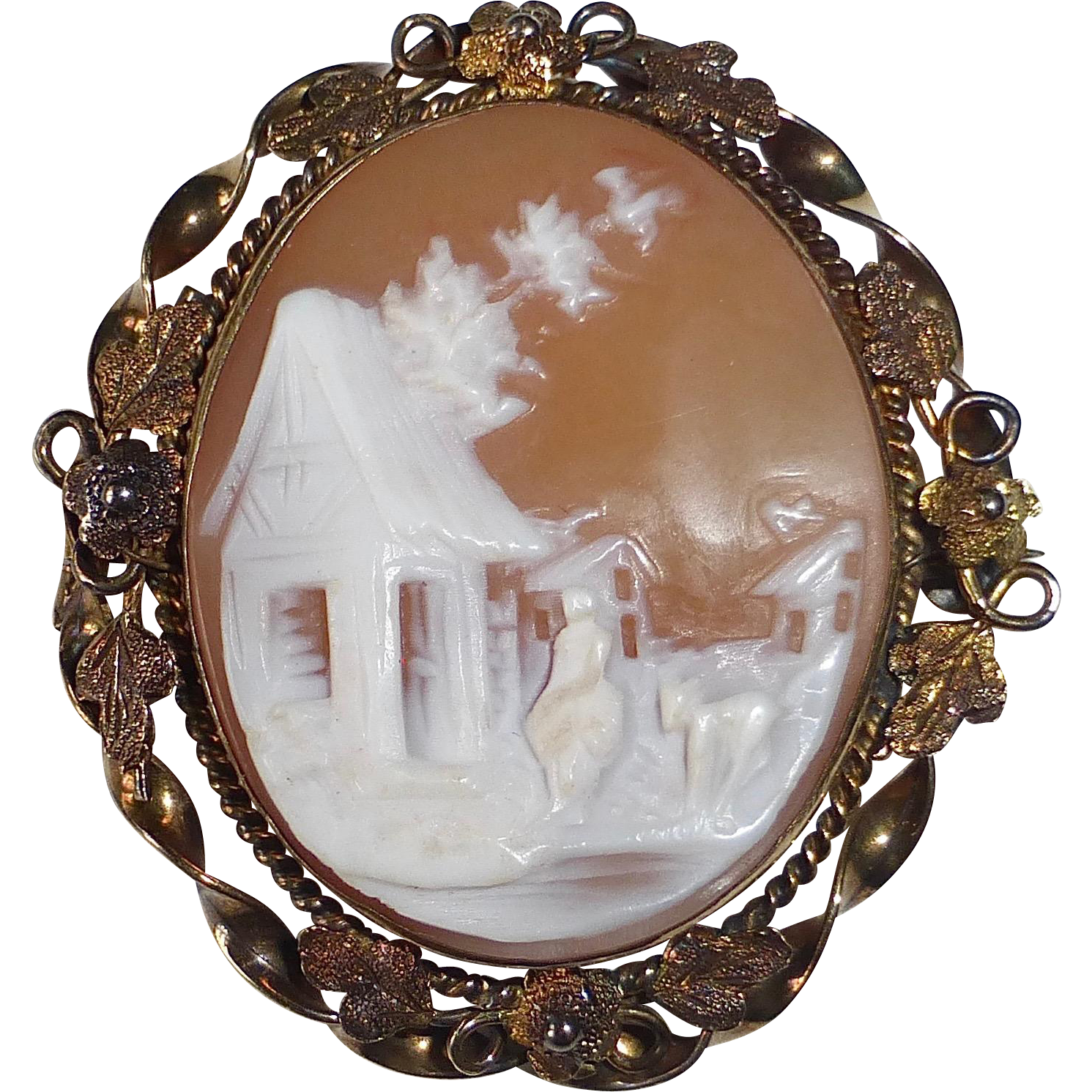 Victorian 'Rebecca by the Well' 10k & GF Carved Shell Cameo