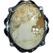 Edwardian Shell Cameo Rhodium Filigree Setting
