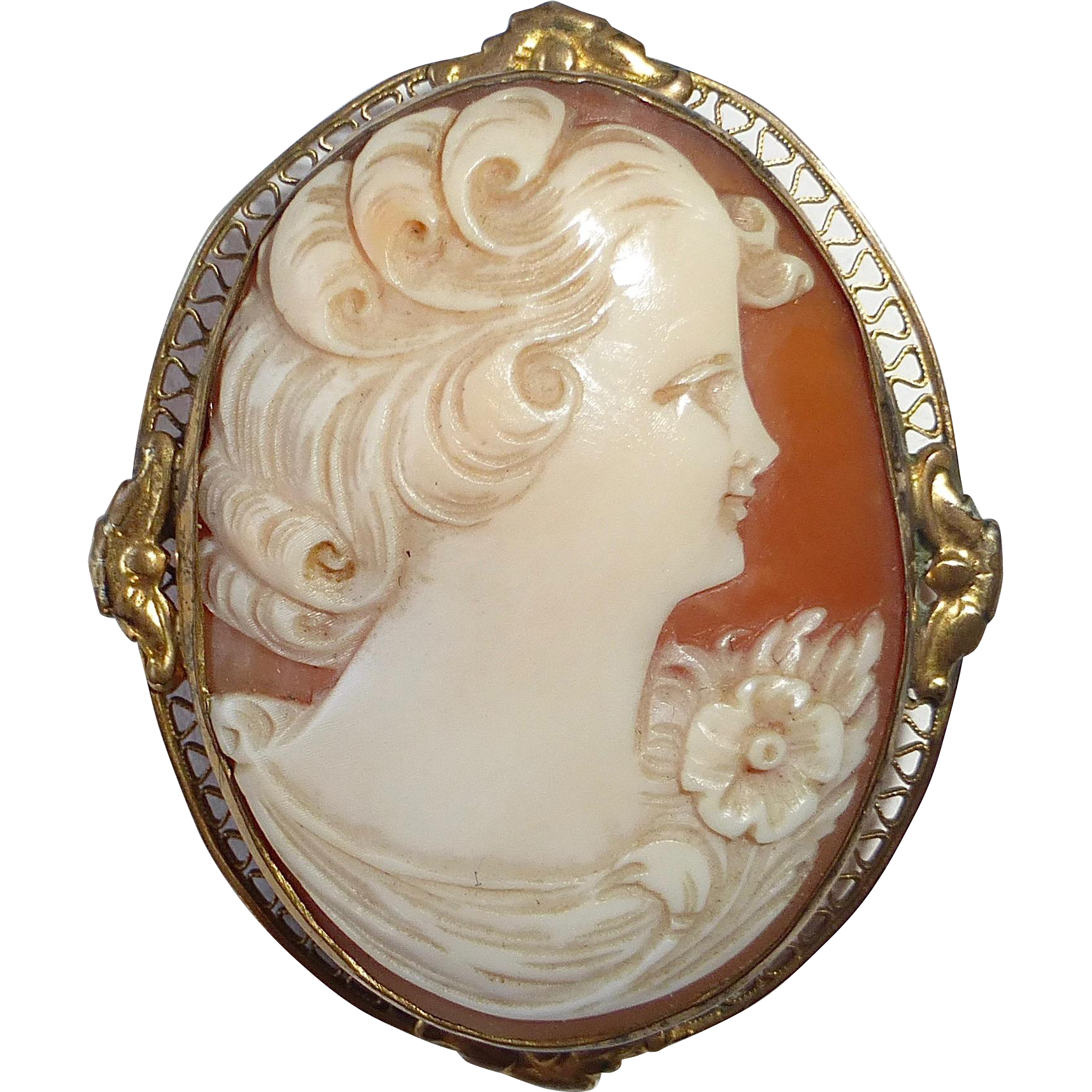 Hand Carved Shell Cameo Gold Filled Filigree Frame