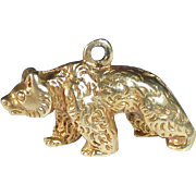14k Solid Gold Bear Charm