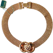 Lisner Mesh Dog Collar Necklace w Rhinestone Slide