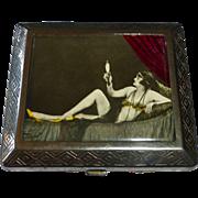 Art Deco Chrome Cigarette Case 1920s Risque Woman Tinted Photo