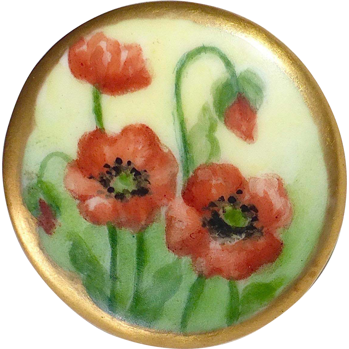 Victorian Hand Painted Porcelain Poppy Design Collar Button