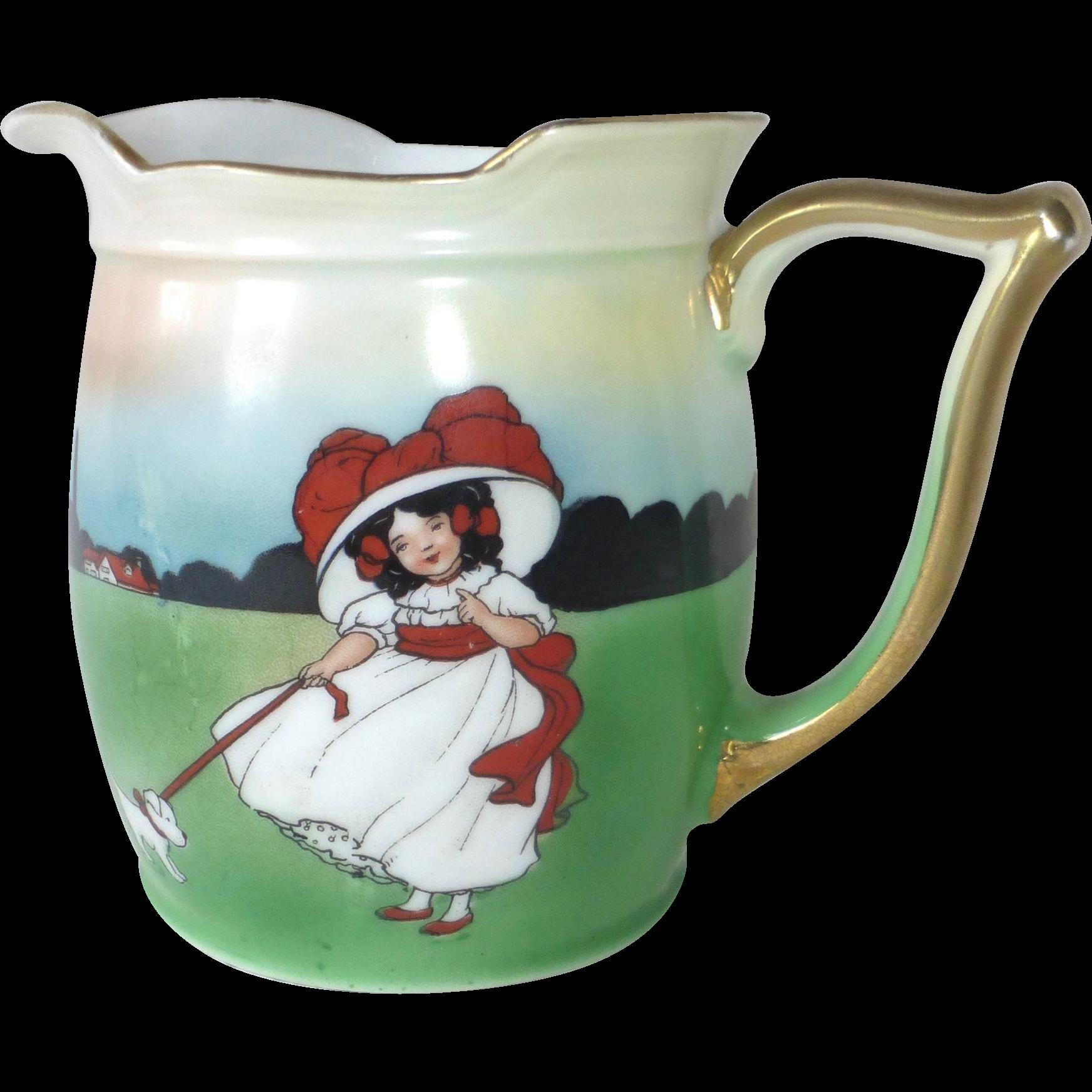 Royal Bayreuth Bavaria Porcelain Young Sunbonnet Girl & Dog Graphic