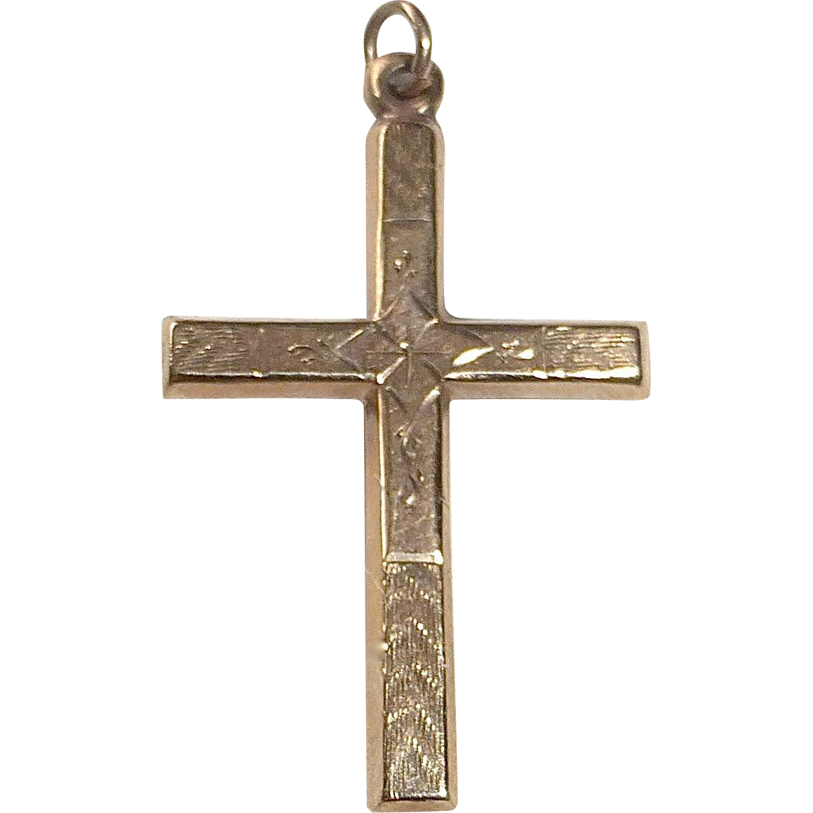 Vintage 10k Yellow Gold Engraved Cross