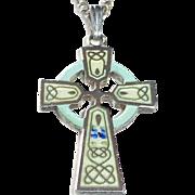 Sterling & Enamel Celtic Cross & Chain
