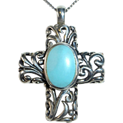 Dimensional Sterling Cross Pendant Necklace w Turquoise