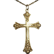 Old Gold Filled Ornate Cross & Chain