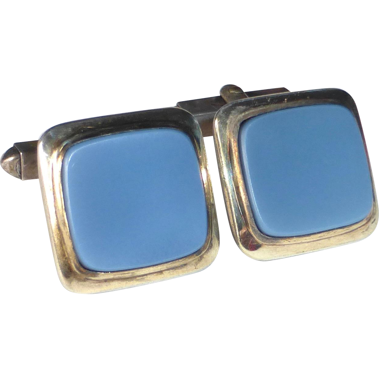 800 Silver Blue Agate Mid Century Cufflinks