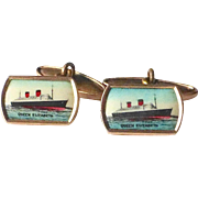Queen Elizabeth Gold Filled & Celluloid Litho Souvenir Cufflinks