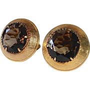 Mid Century Gold Filled Smoky Quartz Cufflinks