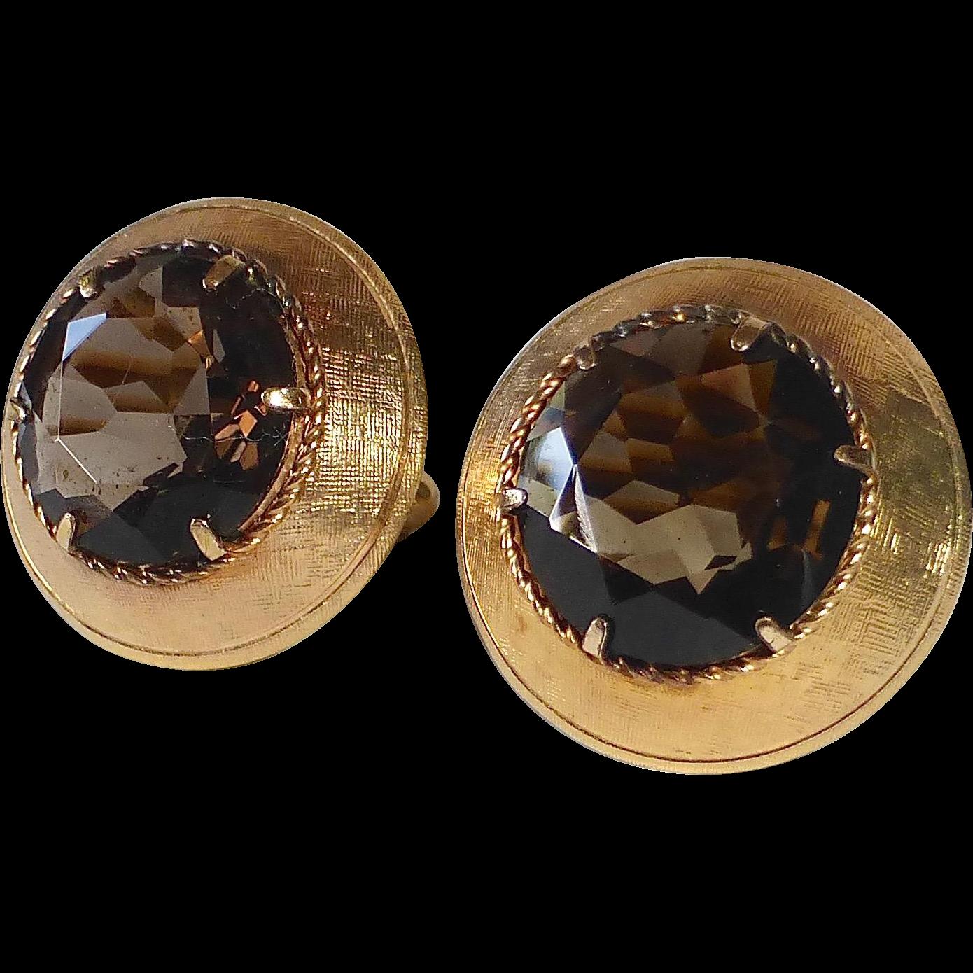 Mid Century Gold Filled Smoky Quartz Cufflinks