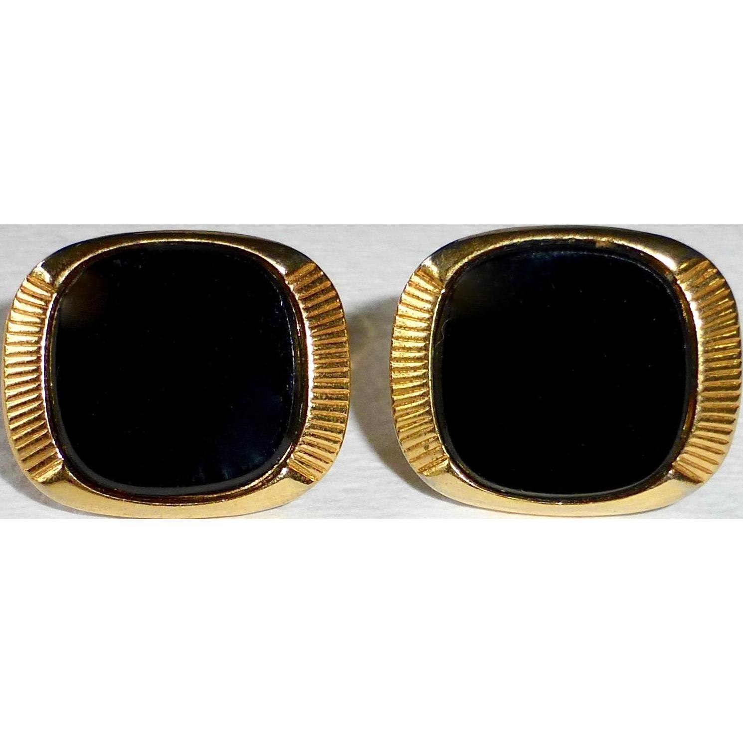 Mid Century Modern Gold Tone Onyx Cufflinks