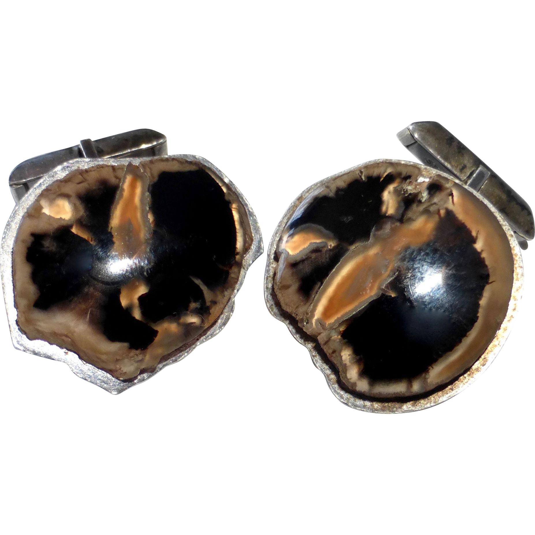 Mid Century Asymmetrical Sterling & Agate Cufflinks
