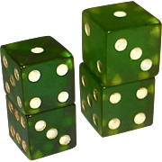 Prystal Green Bakelite Dice Set of 2 Pair