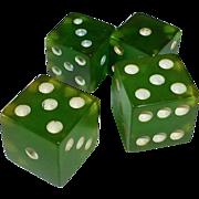 Prystal Green Bakelite Dice 2 pair