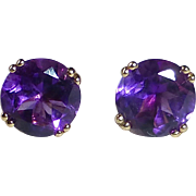 14k Yellow Gold  Faceted Amethyst Post Earrings