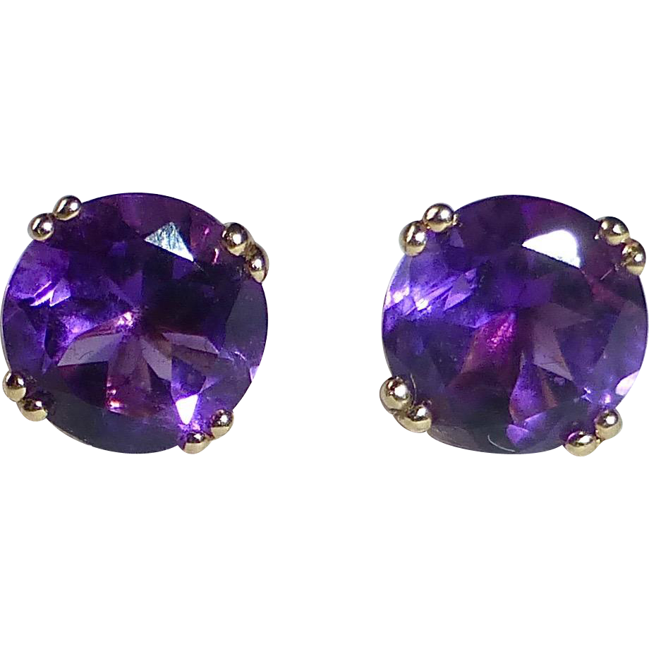 14k Yellow Gold Faceted Amethyst Post Earrings From
