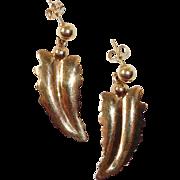 14k Arrowhead Leaf & Berry Pierced Earrings