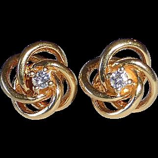 14k Diamond Post Earrings Atomic Energy Sculptural Design