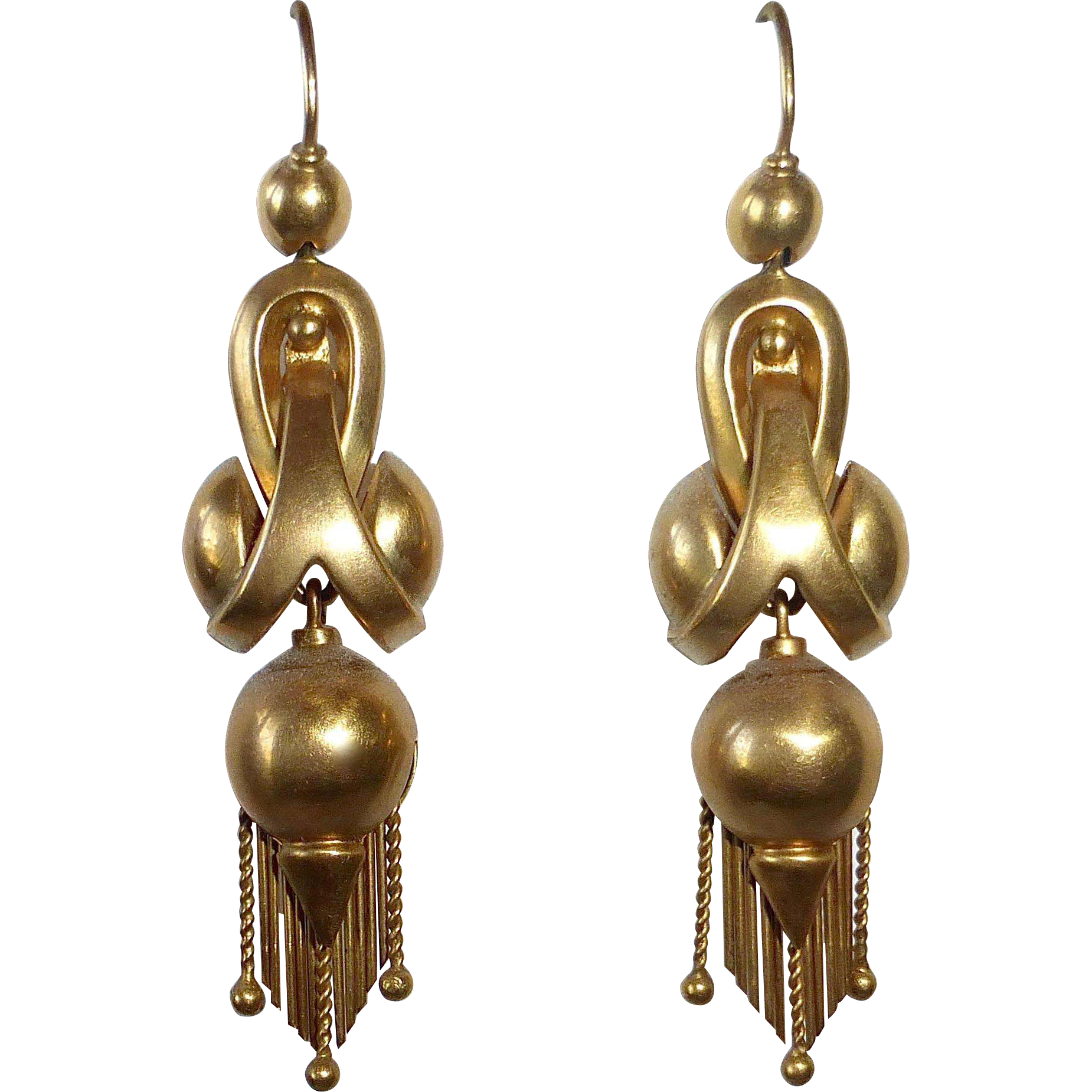 Superb 14k Antique Sculptural Drop Earrings