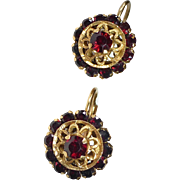 14k & Garnet Rosette Old Leverback European Pierced Earrings