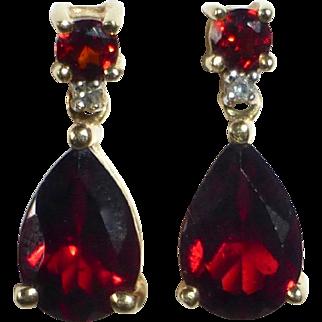 14k Teardrop Garnet & Diamond Post Earrings