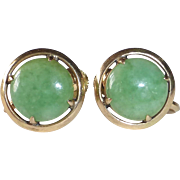 14k Jade Screwback Earrings