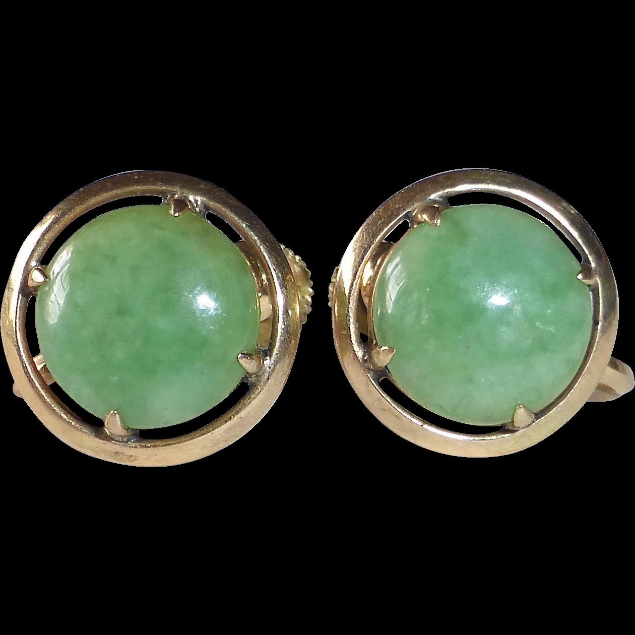 14k Jade Screwback Earrings