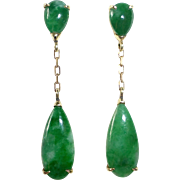 14k Yellow Gold Jade Teardrop Post Earrings